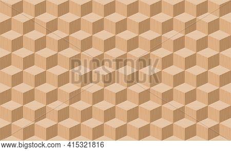 Wooden Cubes. Seamless  Three Dimensional Parquet Artwork, Seamless. Background Vector Illustration.