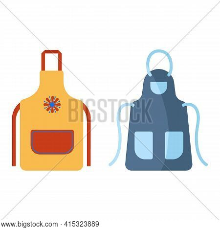 Colorful Aprons For Kitchen, Home And Office Cleaning, Isolated On White Background. Protective Garm