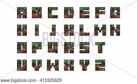 Pixel Font Set. Game Font Concept. Craft Concept. Vector Illustration