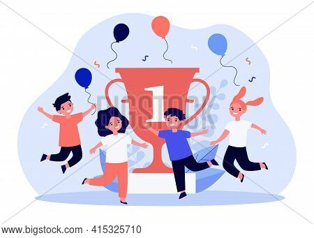 Happy Little Kids Celebrating Victory Near Golden Cup. Balloon, Place, Contest Flat Vector Illustrat