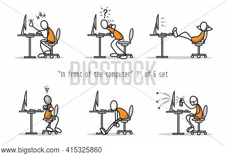 Vector Set Of Humor Cartoon Man In Front Of A Computer In Different Attitudes And Poses. Print Illus