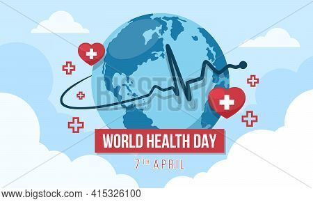 World Health Day With Heart Rhythm Wave Around Circle Globle World And Cross In Red Heart Sign On Sk