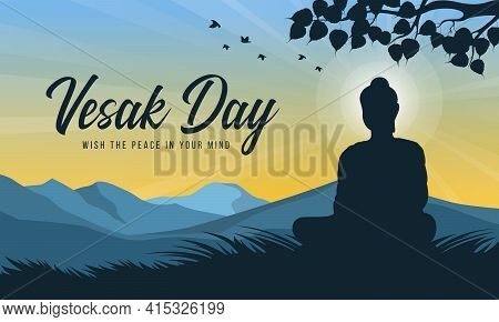 Vesak Day With Scenery Silhouette The Lord Buddha Meditated Intuit Under Bodhi Trees And Radiance Li