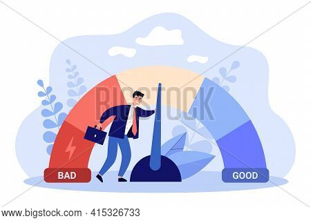Male Businessman With Credit Score Scale. Young Man Changing Personal Financial Account Information