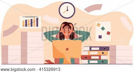 Exasperated Woman In The Workplace Sits Among A Pile Of Papers And Folders. The Concept Of Professio