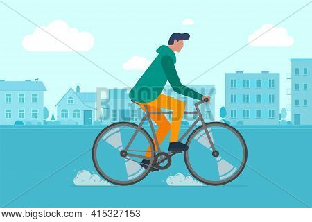 Hipster Male Riding Bike On City Street. Young Man Cyclist Leisure Activity In Town Road. Stylish Gu
