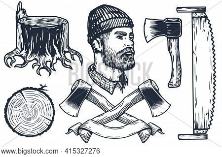 Lumberjack With Ax. Set Of Elements For Axeman