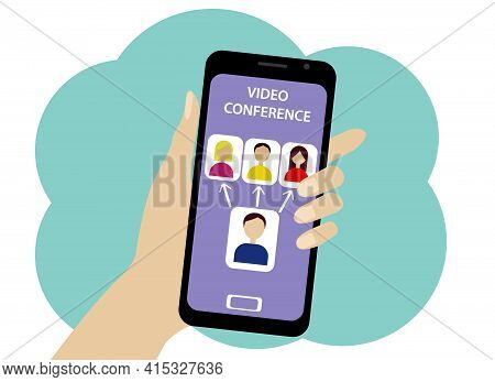 Online Conference By Phone. People And Operator Icons