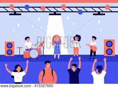 Cute Kids Singing And Playing Music On Stage. Performer, Guitar, Concert Flat Vector Illustration. P