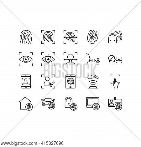 Biometric Flat Line Icons Set. Contains Such Icons As Voice Recognition, Fingerprint, Door Lock, Hom
