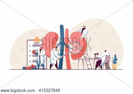 Tiny Doctors Examining Kidneys. Nephrology, Physiology Study, Pharmacy Research Flat Vector Illustra