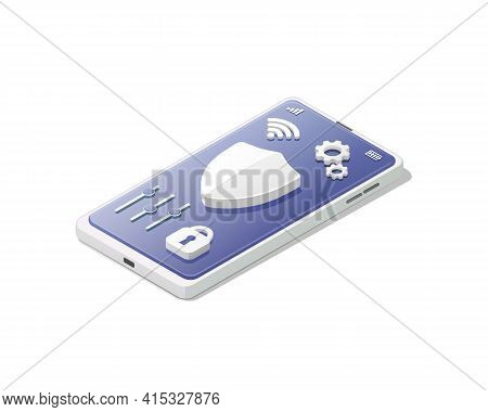 Smartphone Antivirus Concept. Protection And Safety. Isometric Colored Vector Illustration.