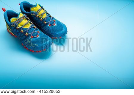 Running Shoes. Sport Shoes. Shoes And Empty Space.