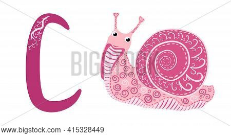 Letter C Lowercase Cute Children Colorful Zoo And Animals Abc Alphabet Tracing Flashcard Of Colorful