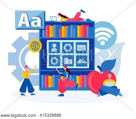 Library Of Electronic Files, Online Education, Online Library,  File Storage Concept Vector Illustra