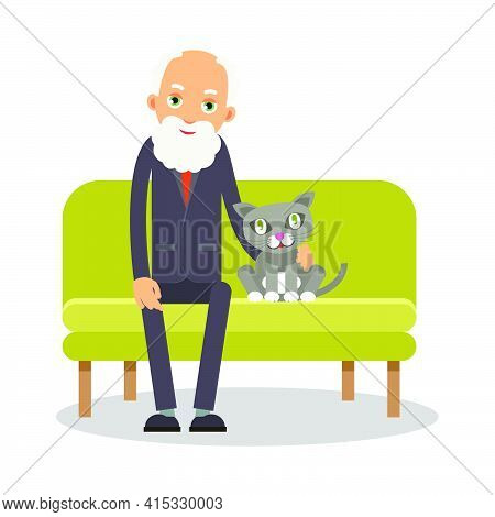 On The Couch Sit An Elderly Man And A Cat. Portrait Of Elderly With Animal. Lonely Pensioner At Home
