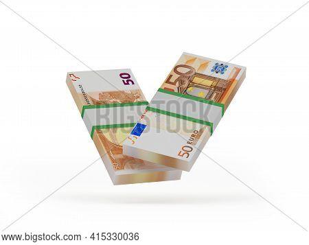 Bundles Of Fifty Euro Banknotes. 3d Illustration