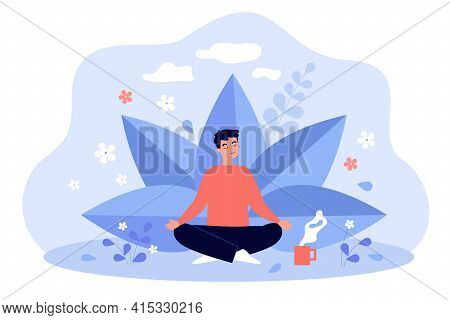 Young Man With Cup Of Tea Meditating Among Plants And Flowers. Colorful Vector Flat Illustration. He