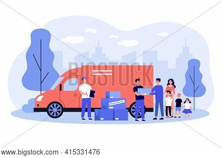 Team Of Volunteers Giving Help Boxes To Family. Governmental Help For Refugees Flat Vector Illustrat