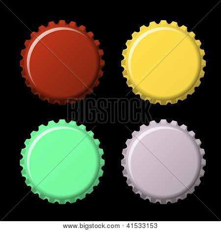 Set Of Bottle Caps In Colors Isolated On Black  Background