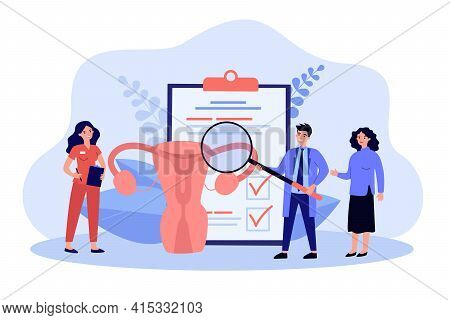 Cartoon Medical Workers Examining Uterus With Magnifier. Flat Vector Illustration. Metaphor Of Treat