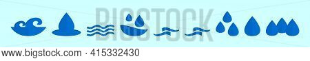 Set Of Water Cartoon Icon Design Template With Various Models. Modern Vector Illustration Isolated O