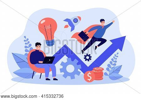 Successful Businessman Working With Laptop And Flying Like Superman. Concept For Startup Launch, Ven