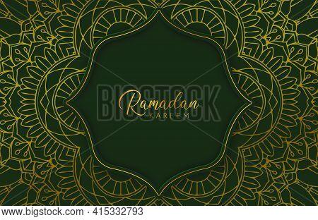 Ramadan Kareem Background In Luxury Style. Vector Illustration Of Dark Green Arabic Design With Gold