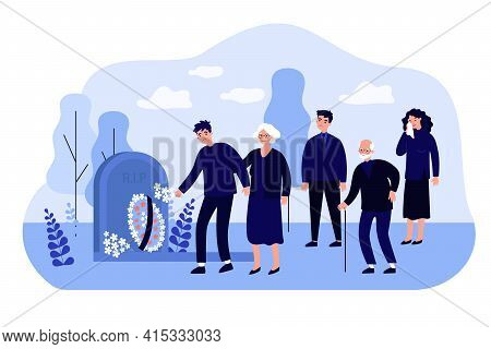 Cartoon Mourning People At Graveyard Flat Vector Illustration. Men And Women Standing Near Tomb With
