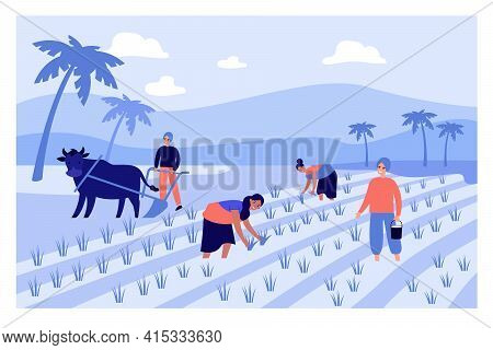 Cartoon People Working On Indian Farm Flat Vector Illustration. Indian Male And Female Farmers In Pa