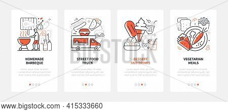 Street Food - Modern Line Design Style Web Banners