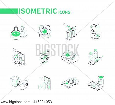 Science And Medicine - Modern Line Isometric Icons Set