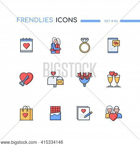 St. Valentines Day - Modern Line Design Style Icons Set