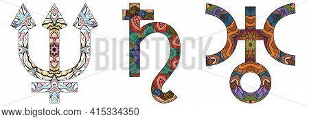Astronomical Signs, Astrology Concept Art. Tattoo Design. Neptune, Saturn And Uranus.