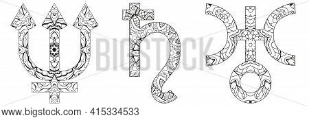 Astronomical Signs, Astrology Concept Art. Tattoo Design. Neptune, Saturn And Uranus For Coloring.