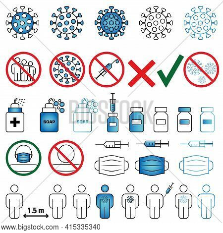 Collection Of Vaccine And Vaccination Icons. A Set Of Simple Linear Web Icons, Such As Human Vaccina
