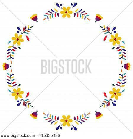 Embroidery Round Floral Frame Border. Mexican Otomi Embroidery. Folk Embroidery Pattern. Ethnic Embr