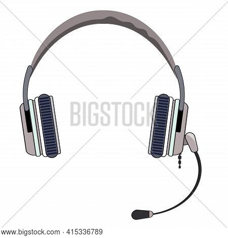 Classic Headphones With Microphone. Vector Eps10 Illustration Headset With Microphone In A Beige Col
