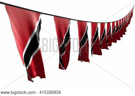 Pretty Many Trinidad And Tobago Flags Or Banners Hanging Diagonal With Perspective View On String Is