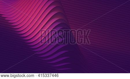 Wavy Purple And Magenta Lines Pattern. Abstract Background, Digital 3d Rendering.