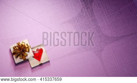 Valentine's Day, Anniversary Gift Background With Large Negative Space. Shiny Red Heart In A Fancy G