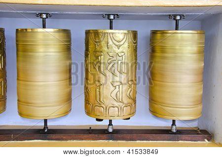Tibetan Buddhist Prayer  Wheels In Mcleod Ganj Temple, India