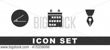 Set Acute Angle, Calendar And Fountain Pen Nib Icon. Vector
