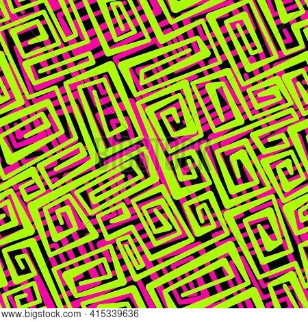 Neon Vector Seamless Abstract Pattern With Swirling Yellow-green And Pink Lines On Black Background.