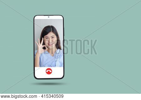 Black Smartphone Concept Connect To Communication Via Online Technology. The Doctor Can Examine The