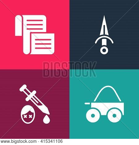 Set Pop Art Wooden Four-wheel Cart, Sword With Blood, Dagger And Decree, Parchment, Scroll Icon. Vec