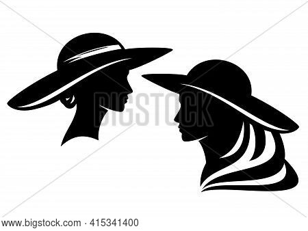 Elegant Woman Wearing Retro Style Wide Brimmed Hat Profile Head - Glamour And Beauty Concept Vector