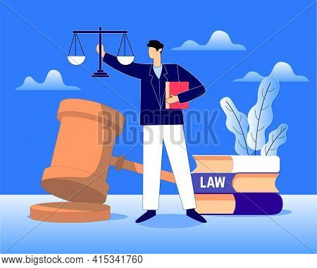 Legal Court With Law, Lawyer And Justice Vector Illustration Concept