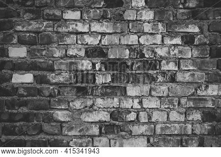 Old Black And White Brick Gray Wall Grunge Texture Dark Dirty Background.