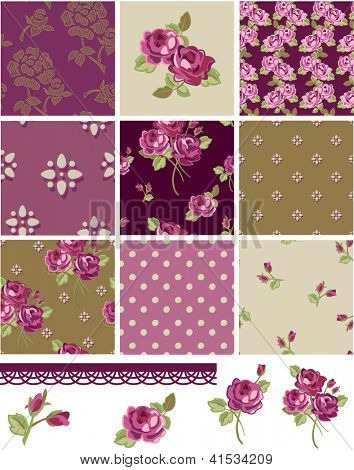 Pretty Floral Rose Seamless Vector Patchwork Patterns and Elements. Use as fills, digital paper, or print off onto fabric to create unique items.